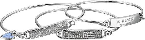 Guess 3 Piece Tension ID Silver Bangle Bracelet Bangle Silver Id Bracelets