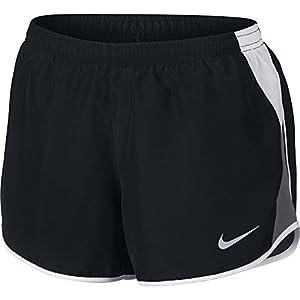 NIKE Women's Dry 10K Running Shorts, Black/White/Dark Grey/Wolf Grey, Small