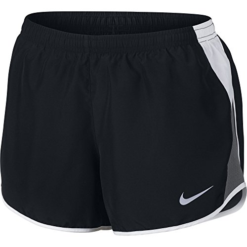 NIKE Women's Dry 10K Running Shorts, Black/White/Dark Grey/Wolf Grey, -