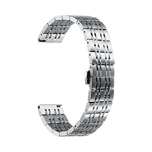 20mm Watch Band Stainless Steel Metal 22mm 20mm 18mm iStrap Replacement Bracelet Strap for Men's Women's Watch Silver by iStrap