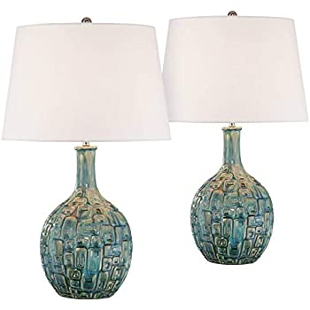 Mid Century Modern Table Lamps Set Of 2 Ceramic Teal Glaze