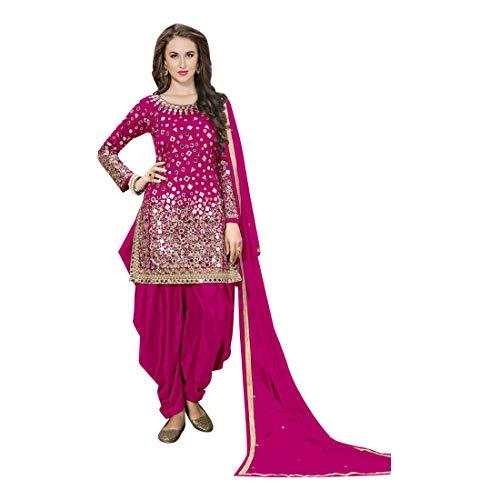 (Ethnic Designer Silk Pink Patiala suit Mirror work Salwar Kameez Indian Punjabi Festival 7111)