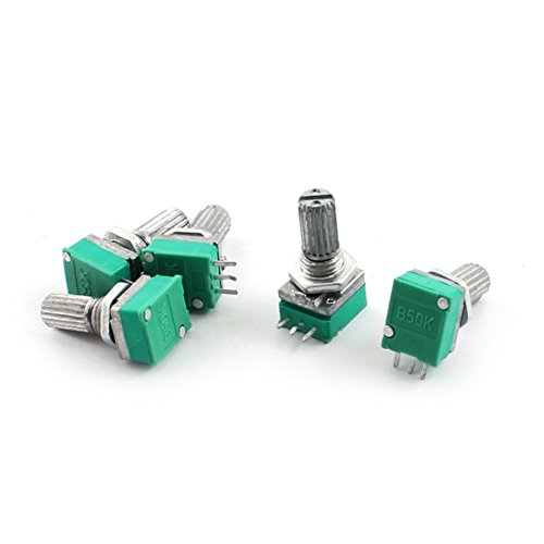 Uxcell a14101100ux0248 5 Piece B50K Type B 50K Ohm 3Pin Terminal Single Linear Rotary Taper Potentiometer ()