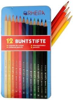 12 lápices de colores/lacado/12 varios colores/EN ESTUCHE metálico: Amazon.es: Hogar
