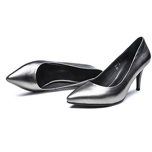 Chaussures Femme Véritable Femmes 5 Noir Partie 5 De Silver en Talons Vachette Discothèque Travail 8cm 38 Chaussures Hauts Cour EU Mariage UK Chaussures Cuir Mode Sexy Cuir TTr7q