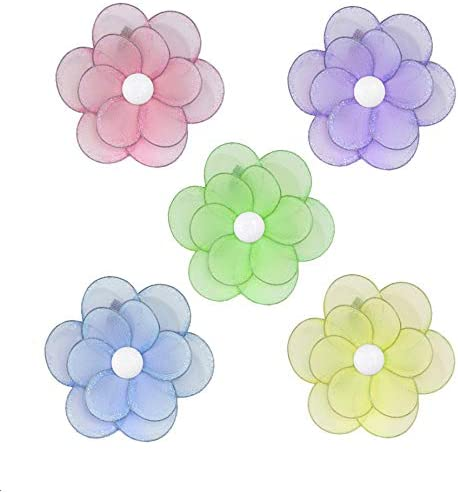Hanging Flower Pink Purple Green Triple Layered Mesh Nylon Flowers Decorations Decorate Baby Nursery Bedroom Girls Room Ceiling Wall Decor Birthday Party Baby Shower Bathroom Home Small 6 Set