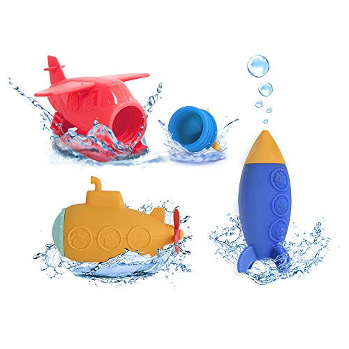 MARCUS&MARCUS Squirting Baby Bath Toy | Infant & Toddler Bath Bundle | Safe Silicone & Mold Free Toys for Bath Time | Submarine, Rocket & Plane
