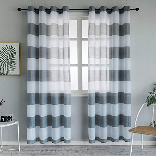 Top Finel Grommet Sheer Curtains 96 Inches Long for Bedroom Living Room Light Grey Horizontal Striped Yarn Dyed Window Curtains, 2 Panels (Horizontal Window Curtain)