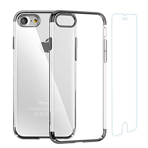Case for iPhone and Screen Protector Set Crystal Clear Anti-Scratch TPU Cover Case with Tempered Glass Screen Protector and Soft Shock Absorption Bumper for iPhone 6 Plus/6s Plus (Black)