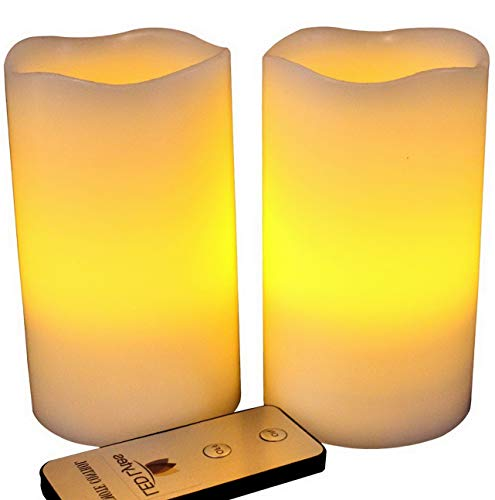 Kaputar Flameless Candles Flickering 2 Ivory Wax Amber Yellow Flame Pillars Battery Operated Candles with Remote for Decor | Model WDDNG -314 | 3