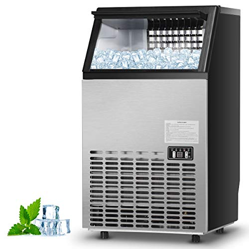 Costzon Commercial Ice Maker, Built-In Stainless Steel Ice Maker, 110LBS/24H, 33LBS Storage Capacity, Free-Standing Design for Party Gathering, Restaurant, Bar, Coffee Shop w/Ice Shovel, Hose (Silver) (Best Commercial Ice Maker)