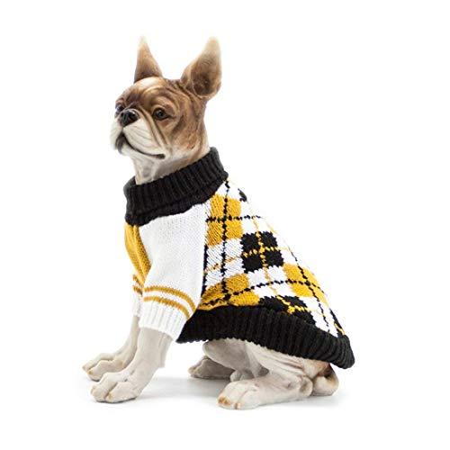 Scheppend Dog Pullover Jumpers Sweater Knit Pet Argyle Turtleneck Knitwear Winter Warm Coat, Yellow M