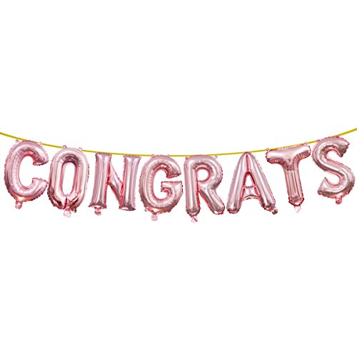 (Rose Gold Congrats Balloons Banners, 16 Inch Letters Foil Balloon for Graduation Celebration Baby Shower Wedding Decorations Birthday Party)