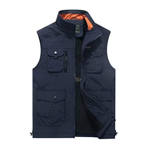 Jacket Outdoor pocket Winter Autumn Blue Multi Men's Vest RaqYwFF