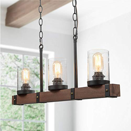 Farmhouse Kitchen Island Lighting Fixture Hanging, Metal Wood Chandeliers with Glass Globes, Linear Pendant Lighting for…