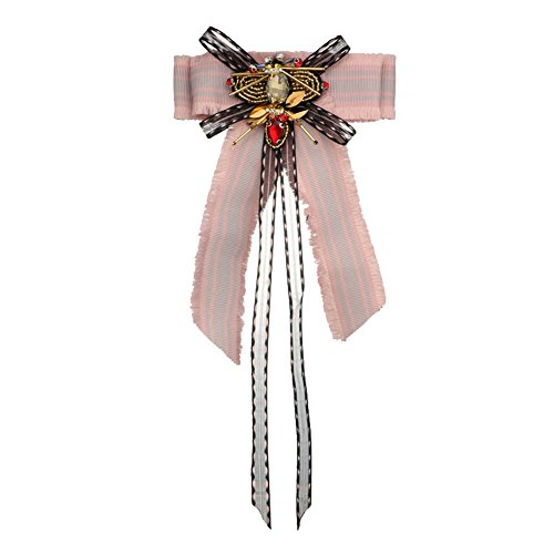 Sunvy Premium Bee Lace Bow Brooch Pre-Tied Neck Tie Brooches Pin Bow Tie Collar Jewelry Dangle Wedding Party Bow Tie (pink)