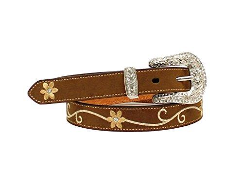 Nocona Women's Floral Embroidered Leather Belt Med Brown Medium