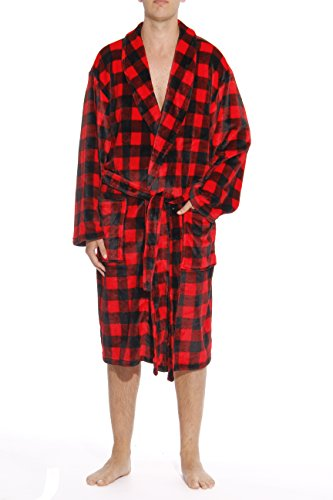 (#followme 46903-1A-L Printed Plaid Velour Flannel Robe Robes for Men Red/Black)