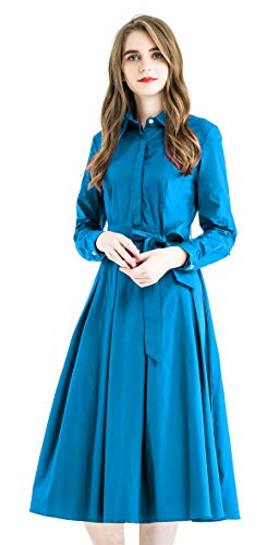 Zredurn Women's Elegant Pleated Shirt Dress with Long Sleeve Pleated Belted A-Line Dress Style (D-Blue, M)