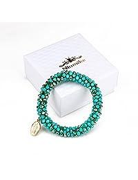 Niumike Braided Crystal Bracelets for Women,100% Hand-Made Beaded Stretch Charm Bracelet,Free Gift Box