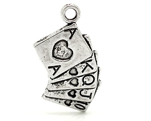 10 x Tibetan Silver SET PLAYING CARDS HEARTS FULL HOUSE ALICE 25mm Charms Pendants Pink Cat Charms