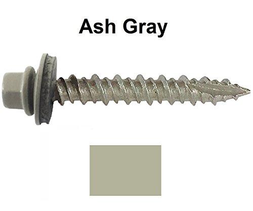 "Metal ROOFING SCREWS: (1000) 10 x 1"" Ash Gray Hex Head Sh..."