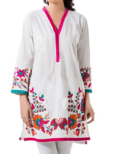 Cotton ribbon top with multicolor embroidery customizable