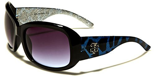 Kleo Designer femme IMPRESSION ANIMAL rectangle Lunettes de soleil Mode Sport conduite UV400 Protection Cabine de plage lunettes de soleil microfibre poche inclus Bleu