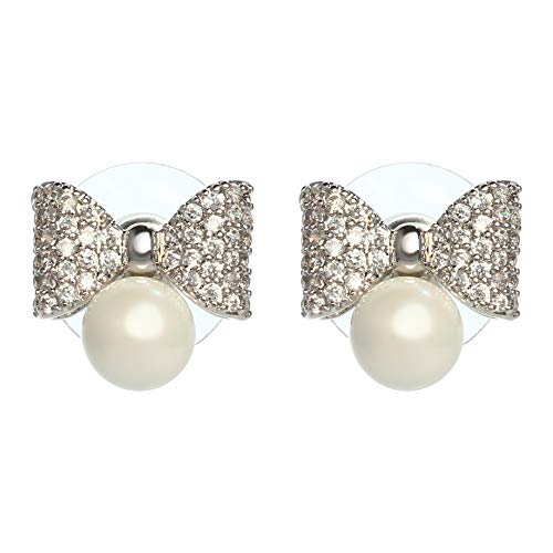 (MISASHA Celebrity Imitation Pearl Bowknot Studs Earrings)