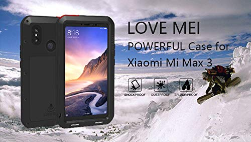Love MEI XIAOMI Mi Max 3 Case,XIAOMI Max 3 Metal Case,Waterproof Shockproof Dust Dirt Proof Aluminum Metal Case Heavy Duty Protection Case Cover for ...