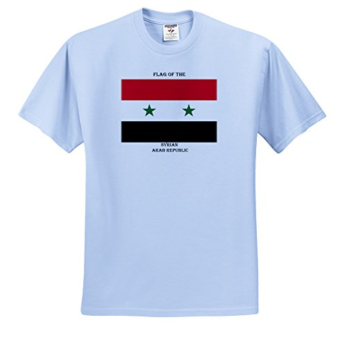 ts_211267_61 Sandy Mertens Flags of the World - Flag of the Syrian Arab Republic - T-Shirts - Youth Light-Blue-T-Shirt Med(10-12)
