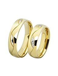 OAKKY Men's and Women's European Style Couples Promise Wedding Rings