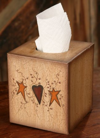 Tissue Box Cover - Primitive Heart and Stars - Perfect for Primitive and Country Decorating - Country Tissue Boxes