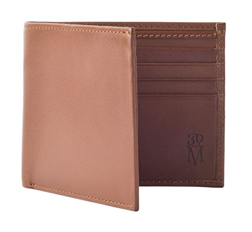 Calfskin Billfold Wallet - 3DM Lifestyle Men's 100% Calf Skin Leather Bifold Wallet With 8 Card Slots