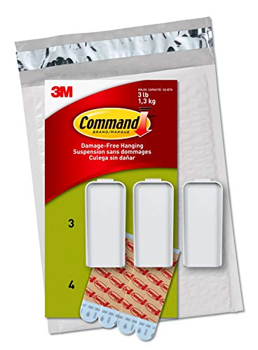 Command Canvas Hanger, Large, White, 3-Hangers & 4-Strips (PH044-3NA) - Easy to Open Packaging
