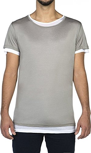 The Project Garments Men's Silk Blend Double Layer Crew Neck Tee Grey and White (Medium)