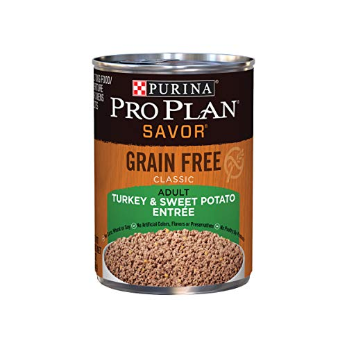 Purina Pro Plan Grain Free Pate Wet Dog Food; SAVOR Grain Free Turkey & Sweet Potato Entree - 13 oz. Can (12 pack)
