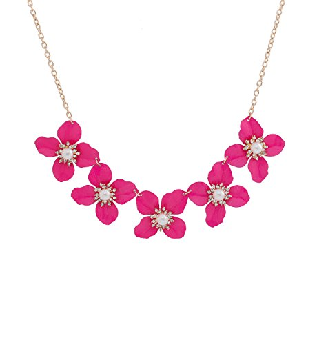 LIAO Jewelry Enamel Flower Choker Necklace Simulated Pearl Bib Necklaces Crystal Adorned Statement Chunky Necklace for Women (Rose Red)