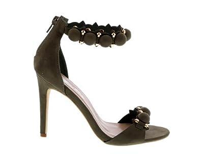 4e1bd9f6450 Women s Pom Pom Open Toe Ankle Strap Stiletto Heeled Sandals Velvet Pump  Shoe (5.5