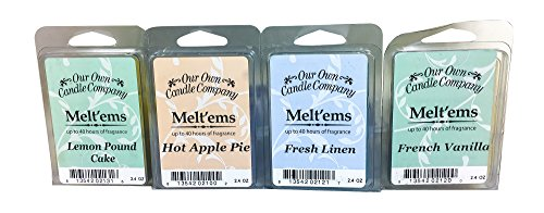 Our Own Candle Company Premium Wax Melt, Apple Pie, French Vanilla, Fresh Linen, and Lemon Poundcake, Everyday Variety Pack, 6 Cubes, 2.4 oz (4 Pack)