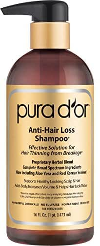 PURA D'OR Original Gold Label Anti-Thinning Shampoo, Clinically Tested Effective Solution, Infused with Organic Argan Oil, Biotin & Natural Ingredients, for All Hair Types, Men and Women, 16 Fl Oz