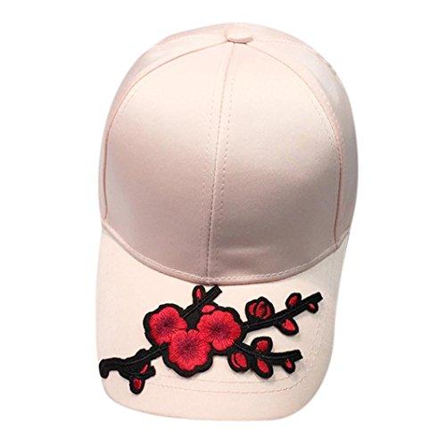 (Hot Sale!Elevin(TM)Women Men Silk Applique Floral Baseball Cap Snapback Hip Hop Flat Hat (Pink))