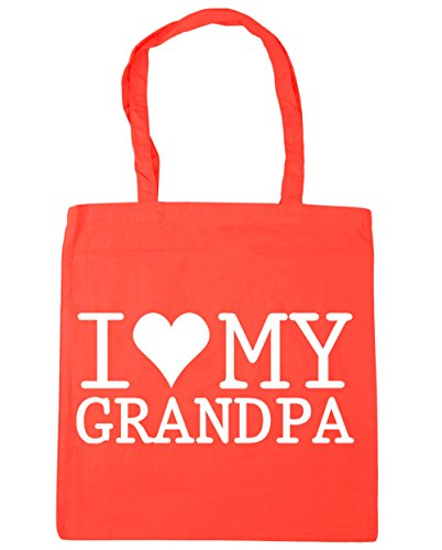 HippoWarehouse I Love My Grandpa Tote Shopping Gym Beach Bag 42cm x38cm, 10 litres