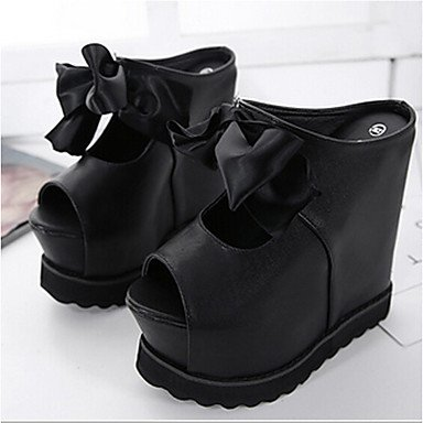 Cms Tacones Negro Casual Blanco Black Pu 9'5 Primavera ggx Lvyuan Confort Mujer 7'5 PRqSSC