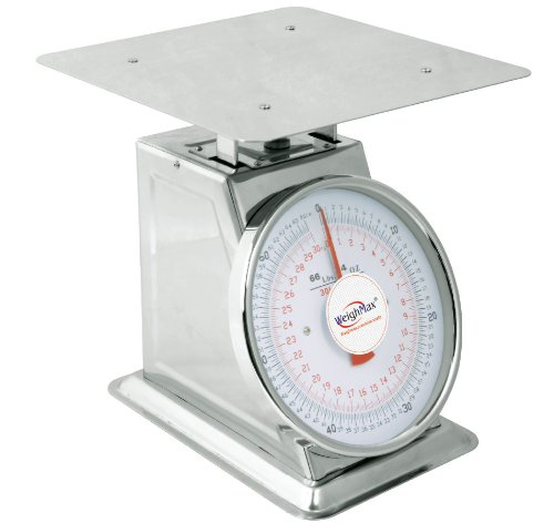 Weighmax MF60 Extra High Capacity Mechanical Stainless Steel Kitchen Dial Scale, 66-Pound ,Silver