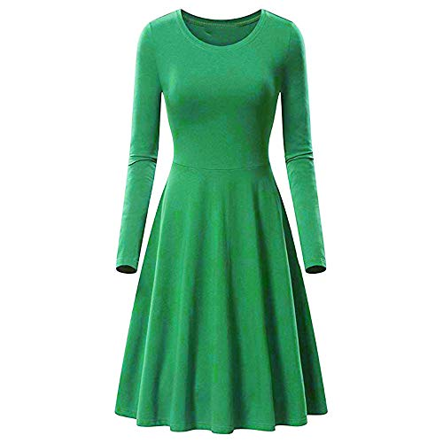 Respctful ♪☆ Women's Fashion Solid Dress Long Sleeve Mini Dress O-Neck Dress Wrinkles Dress Casual Dress for $<!--$7.51-->