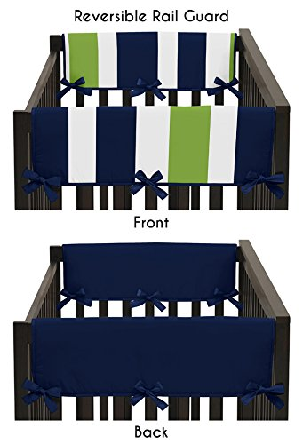 Sweet Jojo Designs Baby Crib Side Rail Guard Covers for Navy Blue and Lime Stripe Bedding Collection (Rail Stripe)