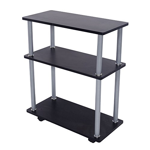 Elegant Simple MDF Wood and Stainless Steel 3 Tiers Phone Fax Machine Office Cart Black by Lykos
