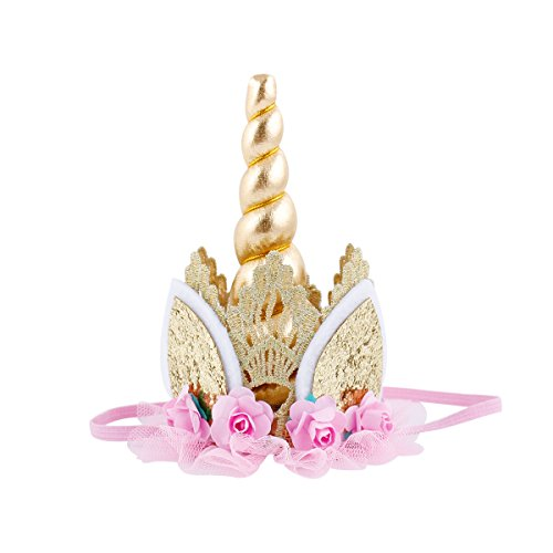 Unicorn Birthday Flower Lace Crown Headband with Gold Horn for Photography Prop (Gold & Light Pink)