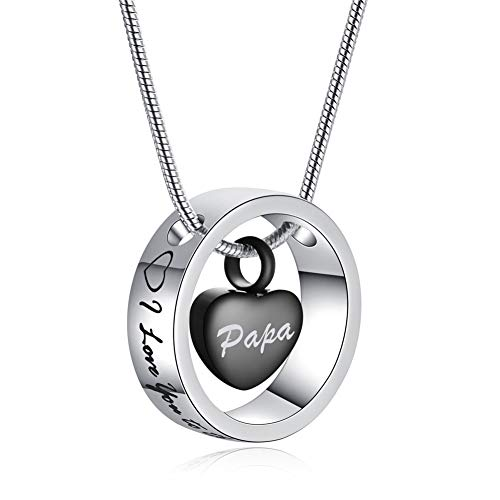 SL Personalized Stainless Steel Heart in Circle Ring Urn Locket Necklace for Men Women Memorial Name Keepsake Cremation Pendant for Human Pet Ashes for Dad,Mom,Nana-I Love You from Moon&Back - Engravable Circle Charm Pendant